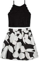 BCX Big Girls 2-Pc. Scalloped Top and Floral-Print Skirt Set