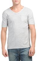 Short Sleeve Slub Knit V-neck Top