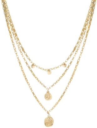 Ettika Triple Layer Chain & Coin Necklace
