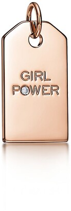 "Tiffany & Co. Charms ""Girl Power"" tag in 18k rose gold with a diamond, medium"