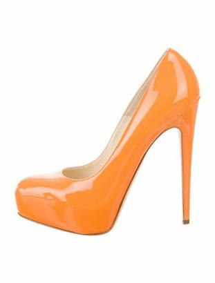 Brian Atwood Maniac Patent Leather Platform Pumps Orange