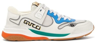 Gucci Ultrapace Leather And Mesh Trainers - Womens - White Multi