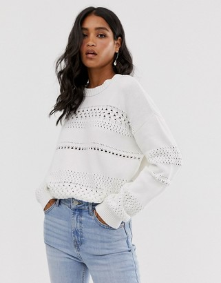 French Connection mozart knit high neck textured jumper-White