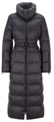 HUGO BOSS Long-line down jacket with water-repellent finish