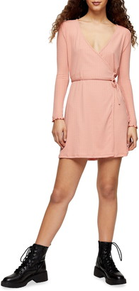Topshop Long Sleeve Seersucker Wrap Minidress