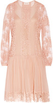 Zimmermann Karmic Lace-Paneled Silk-Georgette Mini Dress