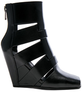 Rick Owens Leather Lazarus Wedges in Black.
