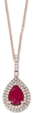 """Effy Certified Ruby (7/8 ct. t.w.) & Diamond (1/4 ct. t.w.) 18"""" Pendant Necklace in 14k Rose Gold"""