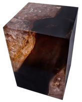 Andrianna Shamaris Cracked Resin Organic Teak Side Table