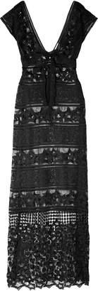 Miguelina Lace-up Macrame Maxi Dress