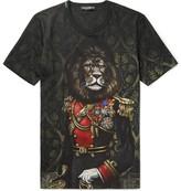 Dolce & Gabbana Lion Printed Cotton-jersey T-shirt - Black