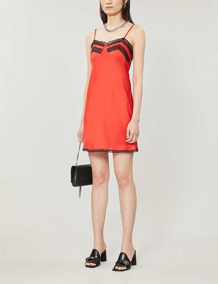 Topshop Lace-embellished satin slip dress