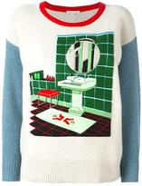 Olympia Le-Tan felt bathroom patch jumper