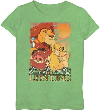 Licensed Character Disney's The Lion King Girls 7-16 Happy Group Shot Sunset Tee