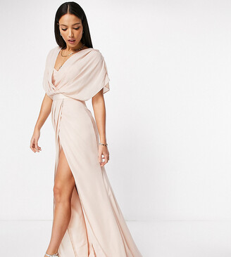 Asos Tall ASOS DESIGN Tall Bridesmaid short sleeved cowl front maxi dress with button back detail