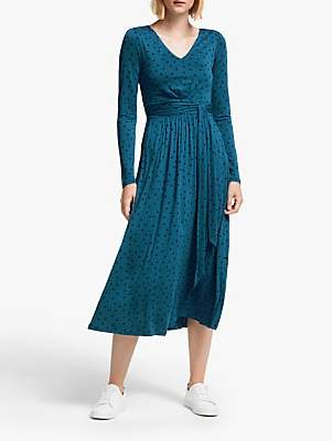 Boden Ferne Jersey Midi Dress, Baltic/Botany Study