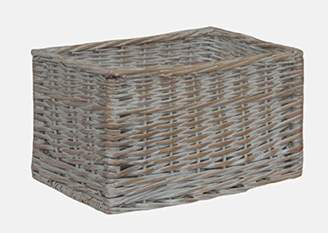 White Wash Storage Wicker Open Basket Small