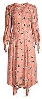 Rebecca Taylor Women's Paintbrush Stretch-Silk Midi Dress - Size 0