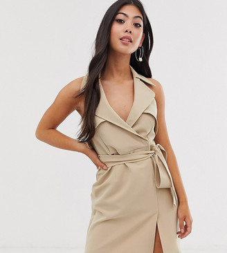 Asos DESIGN Petite mini belted trench dress in soft crepe