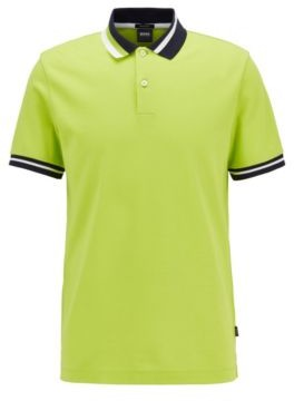 HUGO BOSS Cotton polo shirt with asymmetric collar stripes