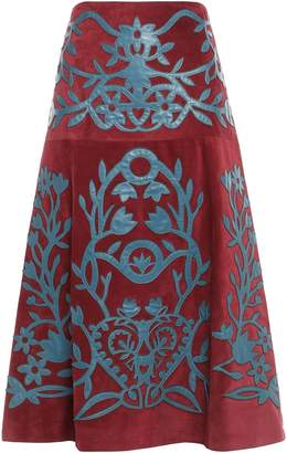RED Valentino Leather-appliqued Suede Midi Skirt