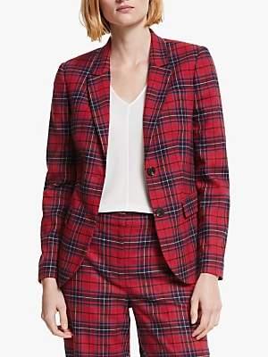 Boden Inverness Wool Blend Check Blazer, Poinsetta