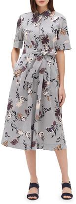 Lafayette 148 New York Eleni Artisan Bouquet Short-Sleeve Stretch Cotton Midi Dress