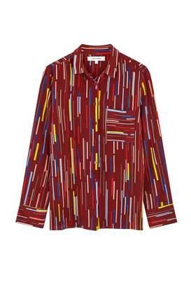 Parker Chinti & Berry Verticals Silk Crepe De Chine Shirt