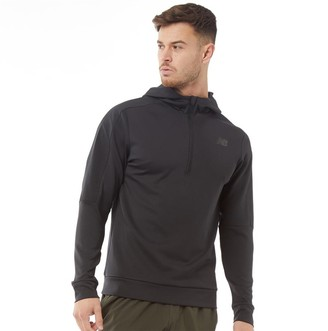 New Balance Mens 1/2 Zip Hooded Running Top Black