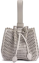 Alaia Grey leather laser-cut bucket bag
