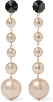 Marni Gold-tone, Crystal And Faux Pearl Clip Earrings - Beige
