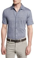 Ermenegildo Zegna Striped Short-Sleeve Shirt, Navy