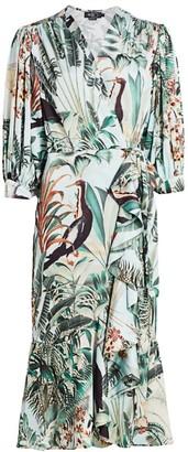 PatBO Eden Print Midi Wrap Dress