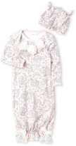 Laura Ashley Newborn Girls) Two-Piece Pink Floral Nightgown & Hat Set