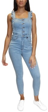 Almost Famous Juniors' Ruffle-Strap Skinny Denim Overalls