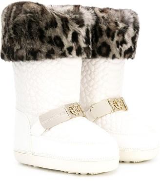 Roberto Cavalli Junior Embossed Leopard Trim Snow Boots
