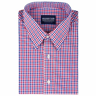 Mountain Leads Men's Short Sleeves Plaid Dress Shirt Slim Fit Button Down Collar Cotton Casual Checked Shirt Blue and Red Gingham 15 Neck