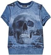 Diesel Denim Wash Skull Print Sweat Top