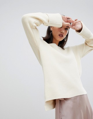 Selected boat neck wide cuff sweater