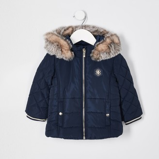 River Island Mini girls Navy matte puffer coat