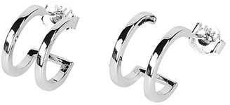 Cvlcha Double Hoop Huggie Earrings - Silver