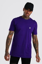 boohoo Mens Purple Hand Chest Embroidered T-Shirt, Purple