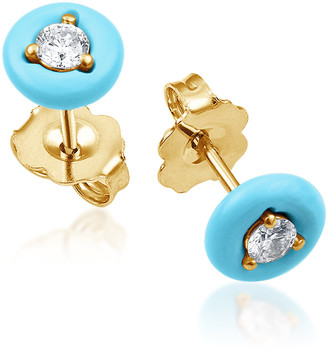 Vittorio B. Fine Jewels Belle Ciambelle 14K Gold Turquoise and Diamond Earrings