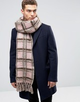 Asos Check Scarf In Brushed Yarn In Pink