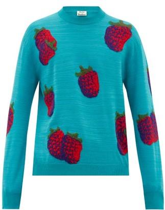 Acne Studios Koray Intarsia-raspberry Wool-blend Sweater - Green Multi