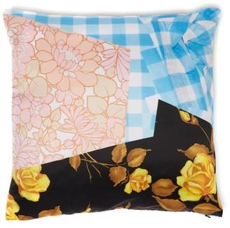Richard Quinn Floral-print Satin Cushion - Blue Multi