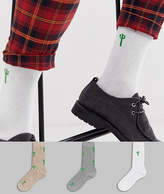Asos Design DESIGN 3 pack ankle sock with cactus print save