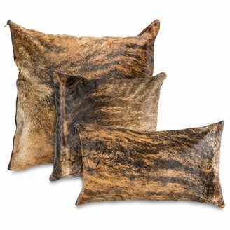 Millwood Pines Rizer Leather/Suede Throw Pillow Cover Color: Brown/Light Black