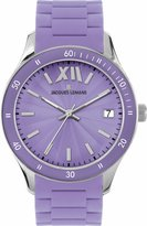 Jacques Lemans Rome Sports 1-1623H 37mm Stainless Steel Case Purple Silicone Mineral Women's Watch