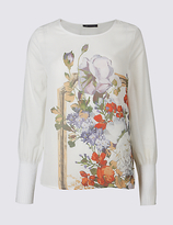 M&S Collection Floral Print Round Neck Long Sleeve T-Shirt